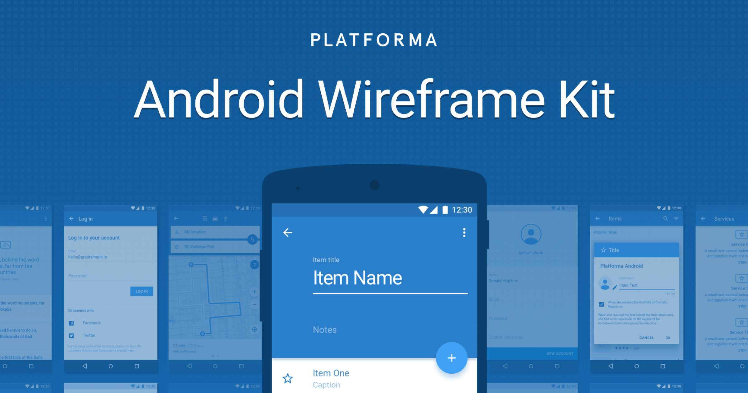 Platforma Android Wireframe Kit